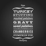 Happy Thanksgiving card with menu. List of typical foods served at Thanksgiving dinner. Vintage fonts on black chalkboard Royalty Free Stock Image