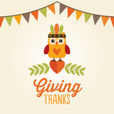 Happy thanksgiving card owl cute costume giving thanks Royalty Free Stock Photo