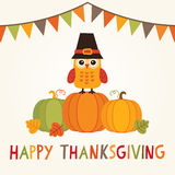 Happy thanksgiving card with owl in pilgrim hat on pumpkins