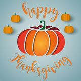 Happy thanksgiving card with paper cut style pumpkins. Happy thanksgiving card with paper cut style Royalty Free Stock Photography