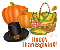 Happy Thanksgiving card. Piligrim hat with orange pumpkins Stock Photography