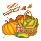 Happy Thanksgiving card, poster, background with basket with cor Stock Image