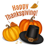 Happy Thanksgiving card, poster, background with piligrim hat. And orange pumpkin. Vector illustration Royalty Free Stock Image
