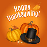 Happy Thanksgiving card, poster, background with piligrim hat Royalty Free Stock Photos