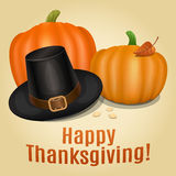 Happy Thanksgiving card, poster, background with piligrim hat Royalty Free Stock Photo