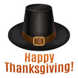 Happy Thanksgiving card, poster, background with piligrim hat. Royalty Free Stock Image