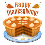 Happy Thanksgiving card, poster, background with pumpkin pie. And orange pumpkin. Vector illustration Stock Image