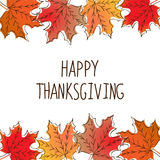 Happy Thanksgiving card template. With red, yellow, orange maple leaves Royalty Free Stock Photography