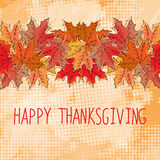 Happy Thanksgiving card template. With red, yellow, orange maple leaves. Grunge background with halftones Stock Photo
