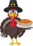 Happy thanksgiving card with turkey holding pie. Illustration of Happy thanksgiving card with turkey holding pie Royalty Free Stock Photography