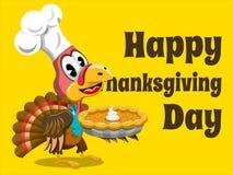 Happy thanksgiving card  turkey. Happy thanksgiving card with turkey holding pumpkin pie Stock Image