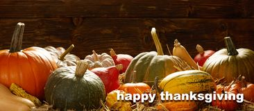 Happy Thanksgiving cards with pumpkins and copy space on rustic background royalty free stock image
