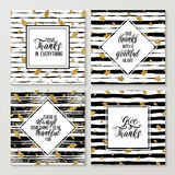 Happy Thanksgiving cards set. Handwritten text on thanksgiving day on gold autumn seamless pattern with leaves, grunge striped background with golden glitter Stock Photos