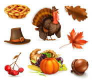 Happy Thanksgiving cartoon character and objects. Vector icon set Stock Photos