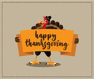 Happy Thanksgiving cartoon turkey holding banner design. EPS 10 vector royalty free stock illustration for greeting card, ad, promotion, poster, flier, blog Stock Photo