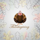Happy Thanksgiving cartoon turkey with leaves - card  Royalty Free Stock Images