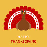 Happy Thanksgiving celebration with  cartoon turkey bird. Royalty Free Stock Photo