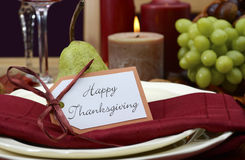 Happy Thanksgiving classic table setting. Stock Photo