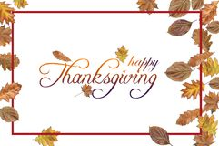 Happy Thanksgiving with colored leaves and red border on white. Background Royalty Free Stock Images
