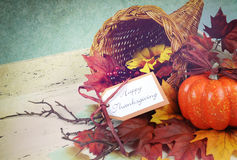 Happy Thanksgiving cornucopia with Autumn Fall leaves. Pumpkin, sunflower and berries on white shabby chic tray against a pale blue background, with retro Royalty Free Stock Photo