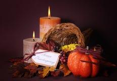 Happy Thanksgiving cornucopia wicker basket stock image