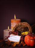Happy Thanksgiving cornucopia wicker basket vertical. Royalty Free Stock Images