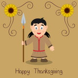Happy Thanksgiving - Cute Native Woman Royalty Free Stock Image