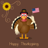 Happy Thanksgiving - Cute Turkey Greeting Royalty Free Stock Photo
