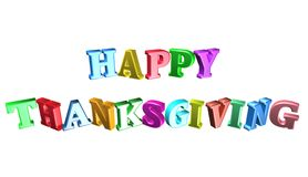 Happy thanksgiving,3D illustration. Text Greeting Card Happy Thanksgiving Stock Photo