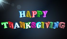 Happy thanksgiving,3D illustration. Text Greeting Card Happy Thanksgiving Royalty Free Stock Photos