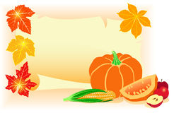 Happy Thanksgiving Day!. Thanksgiving postcard with autumn leaves and vegetables Stock Photo