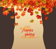 Happy Thanksgiving Day. Abstract tree, brownie autumn leaves falling.  Stock Photography