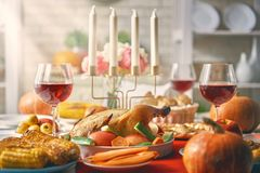 Happy Thanksgiving Day. ! Autumn feast. Family traditional dinner. Food concept. Celebrate holidays Stock Photo