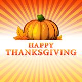Happy thanksgiving day - autumn illustration with pumpkin and fa Royalty Free Stock Photo