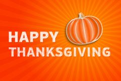 Free Happy Thanksgiving Day - Autumn Illustration With Striped Pumpkin And Orange Rays Royalty Free Stock Photo - 45077435