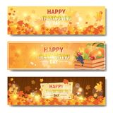 Happy Thanksgiving Day Autumn Traditional Holiday Horizontal Banners Set. Flat Vector Illustration Stock Photo