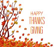 Happy Thanksgiving Day. Autumn tree and pile of leaves. Fall Leaves Background Royalty Free Stock Images