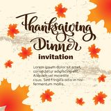 Happy thanksgiving day autumn typography. Hand drawn Lettering for thanksgiving dinner invitation, holiday card, poster, banner, s. Ocial media, web site vector illustration