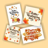 Happy thanksgiving day autumn typography. Hand drawn Lettering for thanksgiving dinner invitation, holiday card, poster, banner, s. Ocial media, web site stock illustration