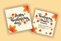 Happy thanksgiving day autumn typography. Hand drawn Lettering for thanksgiving dinner invitation, holiday card, poster, banner, s. Ocial media, web site royalty free illustration