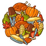 Happy Thanksgiving Day background design with holiday objects stock illustration