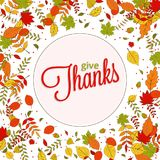 Happy Thanksgiving Day background with falling colorful autumn l Stock Photo
