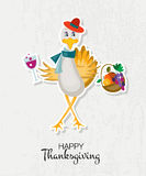 Happy Thanksgiving Day background with hipster turkey Royalty Free Stock Images