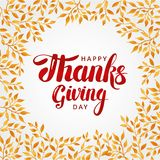 Happy thanksgiving day background. Red lettering. Orange leaf, thanksgiving composition greeting card, menu, decoration, invitation. Thanks logotype, bright Stock Images