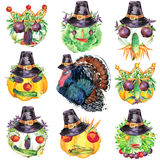 Happy Thanksgiving Day background. Vegetable harvest funny face with Thanksgiving Day turkey and hat for Thanksgiving. watercolor Stock Photos