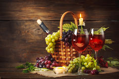 Happy Thanksgiving Day background, wooden table, decorated with fruits and autumn leaves. Autumn background. Stock Photos