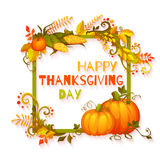 Happy thanksgiving day banner with flowers and Stock Photos