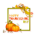 Happy thanksgiving day banner with flowers and Stock Photography