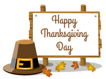 Happy thanksgiving day banner pilgrim hat leaves isolated Stock Images