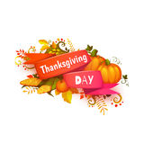 Happy thanksgiving day banner with ribbon and Stock Image